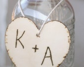 Wedding Centerpiece Personalized Charm Wood Heart (item E10175)