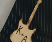 Prom Boutonniere Pin Wood Guitar Personalized With Your Initials