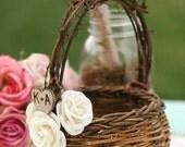 Bird Nest Flower Girl Basket Paper Roses Rustic Wedding Personalized (item B10059)