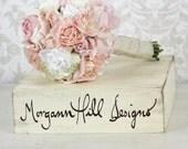 Silk Bride Bouquet Roses Wrapped In Burlap Shabby Chic Wedding Arrangement