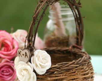 Bird Nest Flower Girl Basket Paper Roses Rustic Wedding Personalized (item B10059)