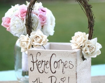 Shabby Chic Flower Girl Basket Rustic Wedding Decor (Item MHD20097)