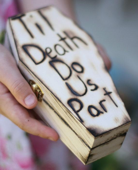 Coffin Ring Bearer Pillow Rustic Wedding Halloween Fall (item E10191)