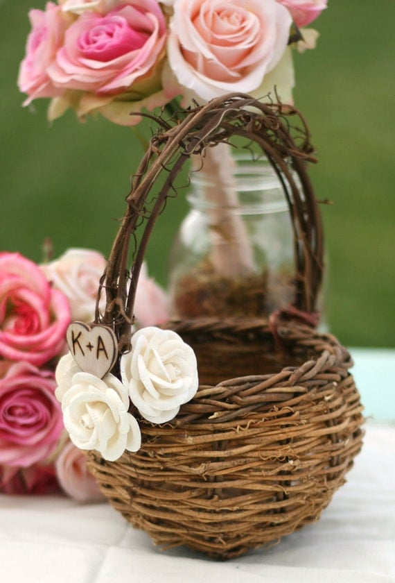 How To Make Flowers Girl Basket : Bird nest flower girl basket paper roses rustic by