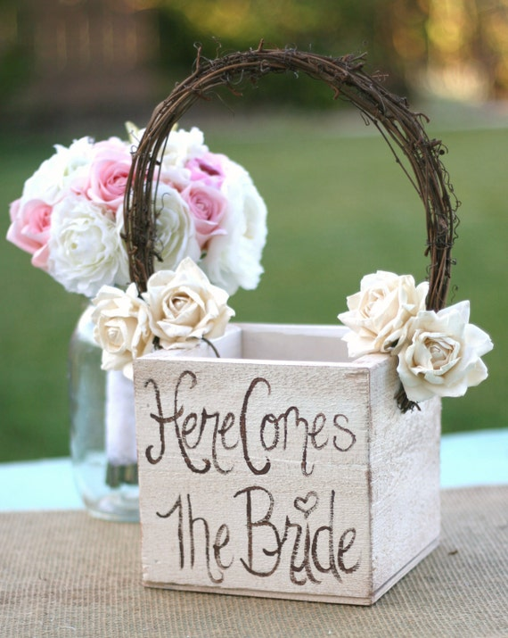 Flower Girl Baskets How To Make : Shabby chic flower girl basket rustic wedding decor here comes