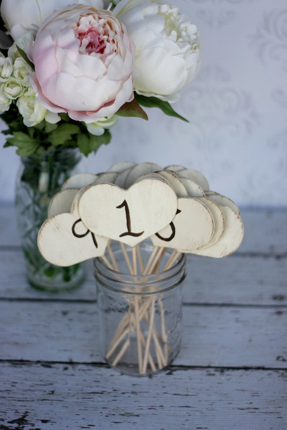 Wedding Table Numbers Hearts On Sticks Set of 12 Rustic Decor (item P10065)