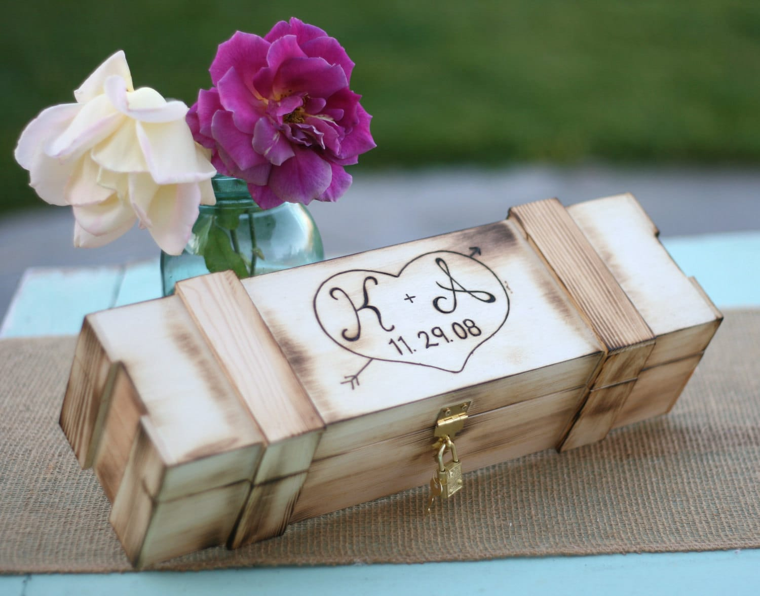 Personalized Rustic Wine Box Wedding Gift Hand by braggingbags