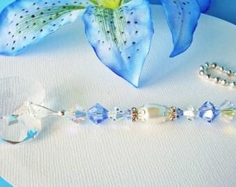 Ceilling Fan Pull Chain Swarovski Crystal Blue Nursery Decor Baby Boy