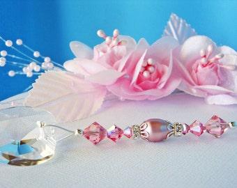 Ceiling Fan Pull Swarovski Crystal Light Pulls Pink Little Girls Room Nursery Decor Prism Suncatcher