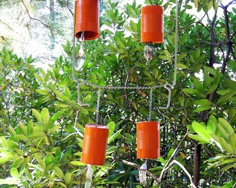 Recycled Wind Chimes with Orange Cans and Silverware - Orange Windchime - Take Out Series