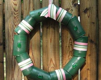 Cantastic Hunter Green Wreath - Recycled Metal Wreath - Eco Wreath