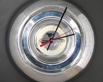 Oldsmobile Wall Clock - 1954 - 1955 Oldsmobile Hubcap Clock - Earth - Olds Hub Cap - Planet