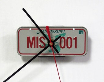 Mississippi Bicycle License Plate Wall Clock - Mini 1981 MS License Tag Clock - Magnolia Flower