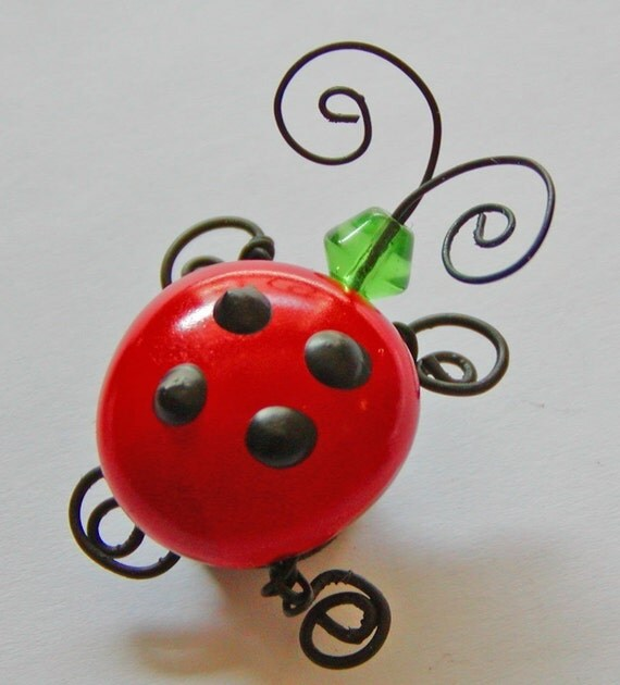 Fridge Magnet, Ladybug Decor, Gift Idea, Red Kitchen Decor,Cute Magnet, Refrigerator Magnet, Kitchen Art, Insect Magnet, Ladybug Gift