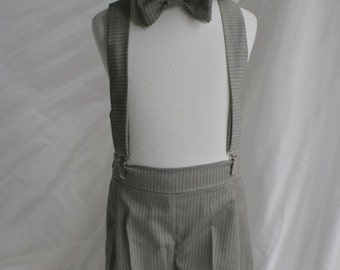 Wool Boy set with Shorts, Bow Tie, Suspenders and Newsboy Hat ring bearer