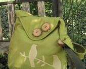 Tweeting Birds Olive handbag// shoulder bag-purse-with adjustable strap, handmade wood buttons, and 6 large pockets