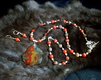 Agate Gemstone Pendant and Red River Jasper Beaded Necklace, Bracelet, Earrings