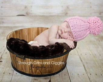 Knit Baby Hat with Pom Pink Photo Prop