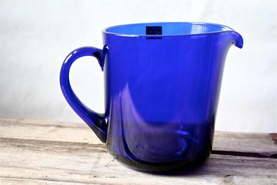 Kaj Franck Nuutajarvi Finland Glass Pitcher Notsjo Vintage Cobalt Blue with Label Arabia IIttala SALE