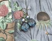 Swarovski Montana Sapphire Blue, Starlight Earrings, Antiqued Brass