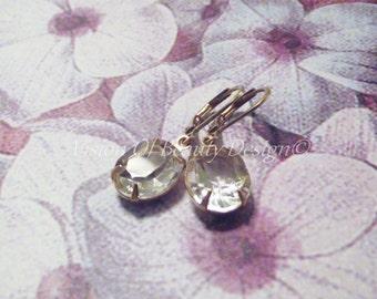 Crystal Clear Vintage Rhinestone Earrings Golden Brass