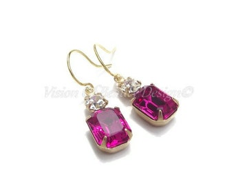 Dainty Swarovski Fuchsia and Crystal Clear Rhinestone Earrings
