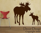 Mom With Baby Moose Wall Decal