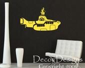 Yellow Submarine Vinyl Wall Decal Sticker- Wall Decor yellow submarine submarine decal, submarine, submarine sticker, nursery submarine HN89