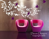 Large Birds Around the Cherry Blossom Branch Wall Decal