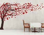 Wall Decals Tree Wall Decal Huge Tree Blowing in the Wind Vinyl Wall Decal For Nursery or Home