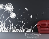 Dandelions Dragonflies and Cattails Wall Decal