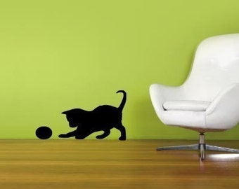 Playful Kitty with a Ball Vinyl Wall Decal Sticker