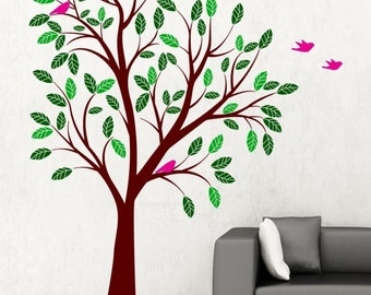 Spring Tree With Birds Vinyl Wall Decal Sticker