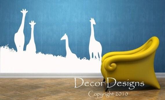 Four Curious Giraffes Vinyl Wall Decal Sticker