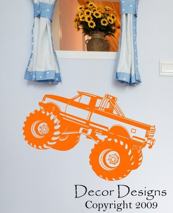 Kids Monster Truck Wall Decal Sticker- monster truck wall, monster truck decal, monster truck art, monster truck room, boys room decor HK12
