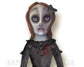 Lubimia Blodmer  -  vampire  Halloween articulated Paper Doll -15 x 11 inches -drawing  monsters freak creatures zombie witch halloween prop