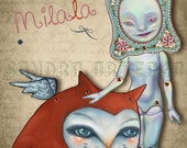 Mina & Milala - articulated TWO PAPER DOLLS  set  - cat red fairy tale art doll once upon a time ooak blue kaleidoscope