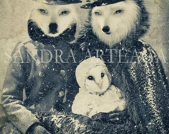 Family secrets - lustre print size A4 ( 8.3 in x 11.7 in ) once upon a time anthropomorphic  fairy tale wolf owl snow magical