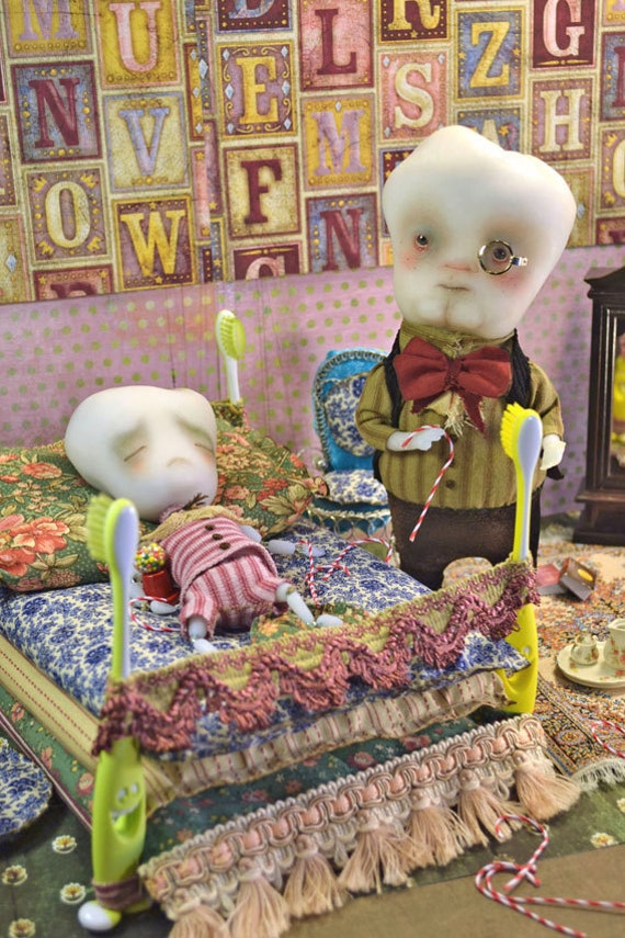 SALE!! Tilo the decayed tooth boy  and Dr.Calcium - sugar overdose art doll decayed teeth boy toothbrush bed pure sculpt fantasy doll