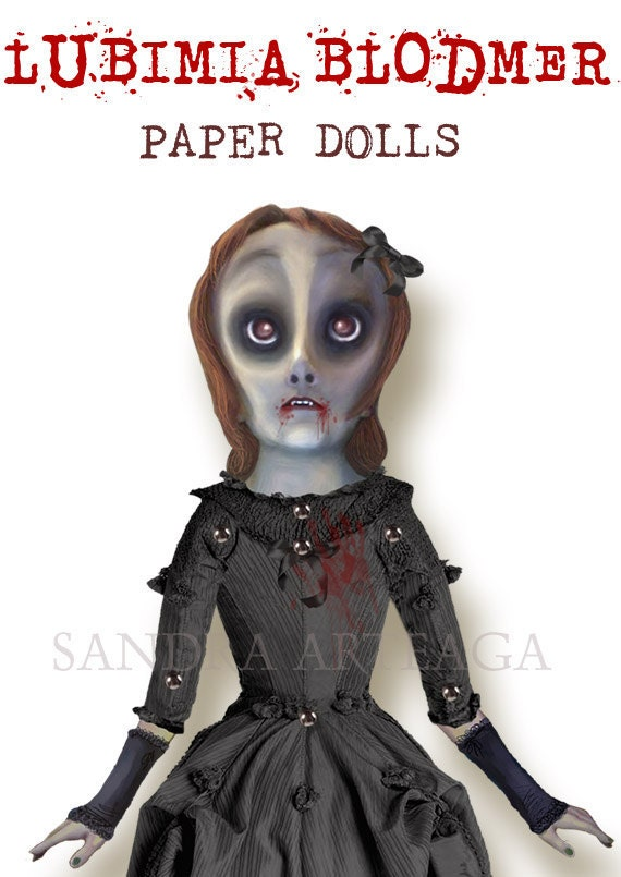 "Lubimia Blodmer  -  vampire  Halloween articulated Paper Doll -15 x 11"" -drawing  monsters freak creatures zombie witch halloween decor prop"