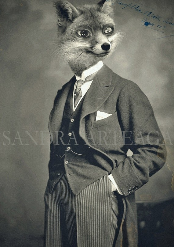 Louis- lustre print size A4 ( 8.3 in x 11.7 in ) - anthropomorphic gentleman fox drawing art doll black white animal portrait fantasy