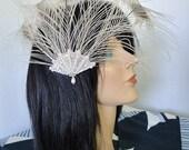 Peacock Bridal Fascinator Ivory Feather Swarovski Crystals Pearl Bead