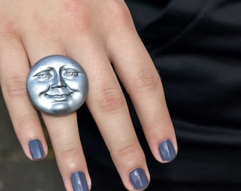 Mr. Moon Ring - Adustable Novelty Ring, Statement Jewelry by Liz Hutnick