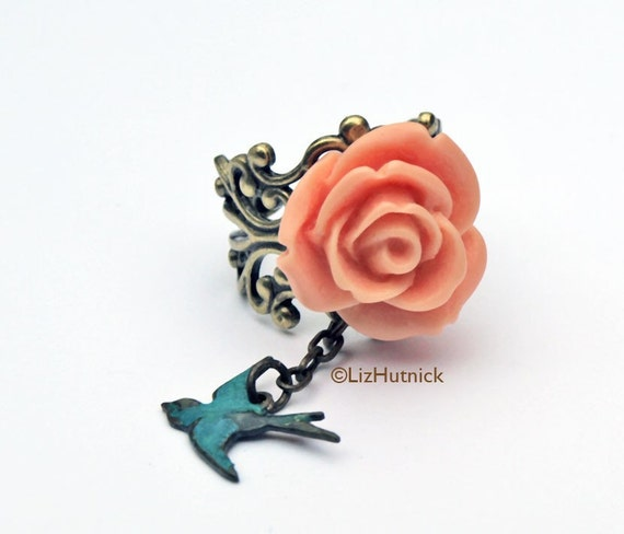 Garden Rose Ring. Peach Rose Ring. Adjustable. Teal Sparrow. Novelty Ring