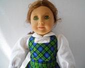 American Girl Doll Clothes 18 Inch Doll Green Plaid Jumper Set Molly