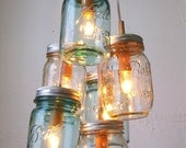 Sapphire Ocean Mason Jar Chandelier - Mason Jar Light - Modern Industrial Handcrafted UpCycled BootsNGus Hanging Pendant Lighting Fixture