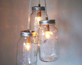 COUNTRY GLOW Mason Jar Chandelier - 3 Quart Jars -  Handcrafted Mason Jar Lighting Fixture - Upcycled BootsNGus Lamp - Direct Hardwire