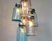 Ocean Sapphire Mason Jar Chandelier - Mason Jar Light - Modern Industrial Handcrafted UpCycled BootsNGus Hanging Pendant Lighting Fixture