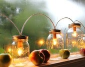Mason Jar String Of Lights, Rustic Banner Style Mason Jar Lamp, BootsNGus Lighting & Home Decor
