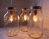 Catching Summer Fireflies - Standing Banner Ball Mason Jar Light - BootsNGus Design - Industrial Upcycled Wedding Home Decor Accent Light